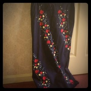 Navy floor-length skirt w/ floral pattern, Twink 5